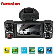 Lente dupla câmera do carro veículo dvr traço cam duas lente gravador de vídeo f600