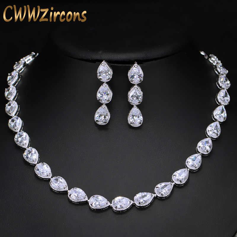 CWWZircons ที่สวยงาม Pear Cut CZ Zirconia หินแฟชั่นผู้หญิงงานแต่งงานต่างหูสร้อยคอเครื่องประดับชุด T019
