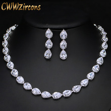 CWWZircons Stunning Pear Cut CZ Zirconia Stone Women Fashion Wedding Party Earrings Necklace Jewelry Sets T019