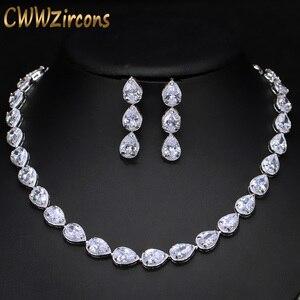 Image 1 - CWWZircons Stunning Pear Cut CZ Zirconia Stone Women Fashion Wedding Party Earrings Necklace Jewelry Sets T019