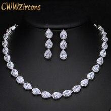 CWWZircons ensembles de bijoux en pierre de zircone CZ pour femmes, boucles doreilles et collier, superbes coupes poire, mode fête de mariage T019