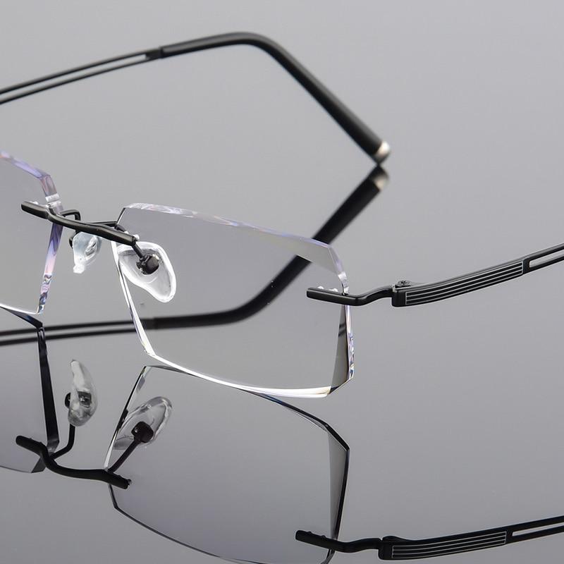Design Lesebrille Klar Randlose Qj Gläser Linsen Männer Damen Diamanten Luxus grau Schwarzes Computer Hohe Myopie Titan 2018 Brillen Zw0xtzqt