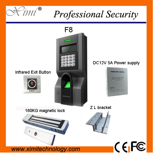 Free shipping F8 access control system with magnetic lock, power supply and infrared exit button,bracket
