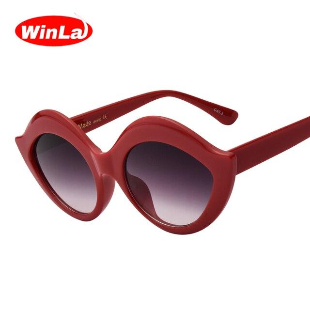 b9c7e0c1375 Winla Sexy Lip Sunglasses Women Gradient Sun glasses Vintage Brand Designer  Summer Style Oval Shades UV400 Oculos de sol WL1081