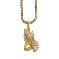 ASGARD Hip Hop Gold Color Rapper Hands Inlaid Rhinestone Finger Citron Pendant Necklace Chain Men Jewelry