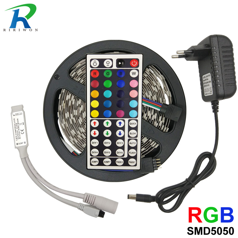 Led Strip SMD 5050 5m RGB Led Stripe Light Waterproof Flexible Ribbon Diode Tape tira fita bande With Controller DC 12V adapter 10m 5m 3528 5050 rgb led strip light non waterproof led light 10m flexible rgb diode led tape set remote control power adapter