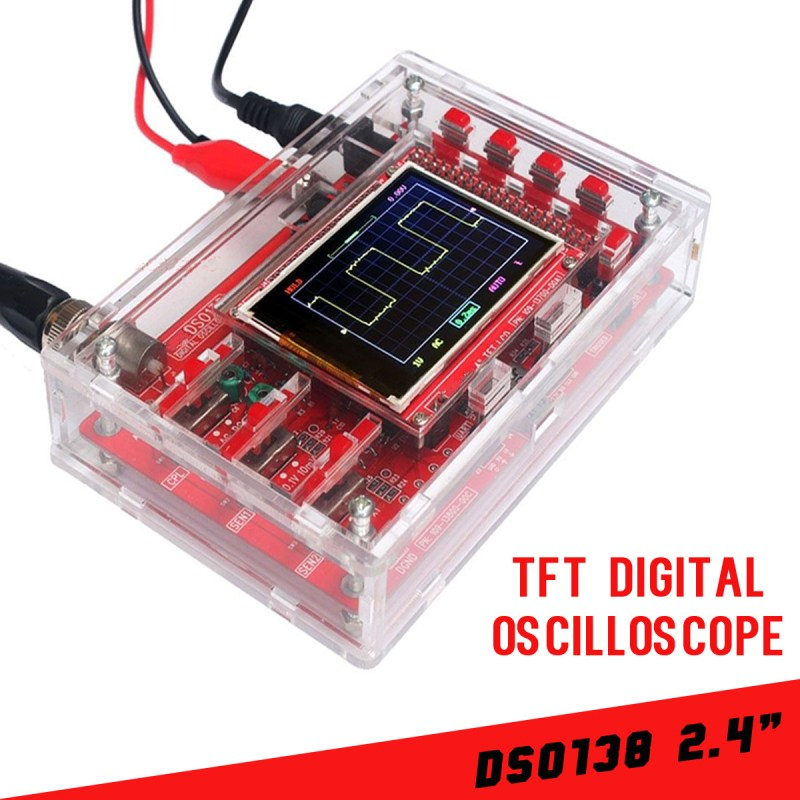 DSO138 2.4 TFT LCD Digital Oscilloscope Kit Acrylic Case DIY Part Cover SMD Set Kit Fully Assembled Open Source 1Msps new 1pcs dso138 2 4 tft digital oscilloscope kit diy parts 1msps with probe