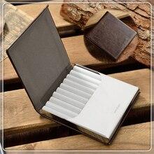 Neue Hohe Qualität Echtem Leder zigarettenetui für 10 stücke Metall Zigarettenschachtel Mit Geschenk Box Zigarette Werkzeuge CB128