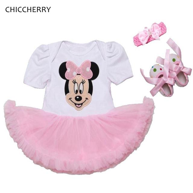Minnie baby girl clothes summer party dress infantil del cordón del applique Conjunto tutú Diadema y Zapatos Traje De Bebe Niño Cumpleaños trajes