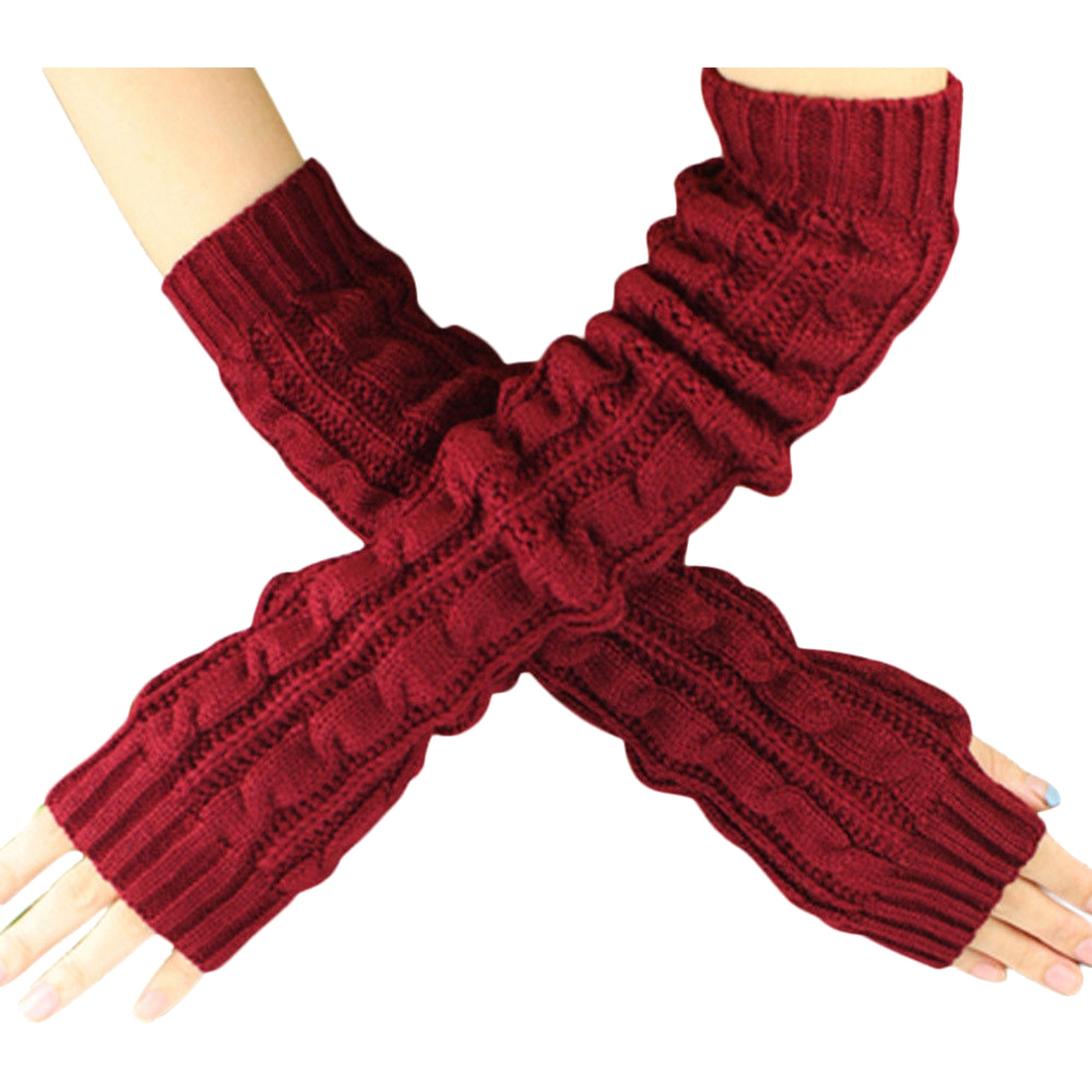 Fashion Winter Women Men Gloves Unisex Arm Warmer Long Fingerless knit Mitten wine red