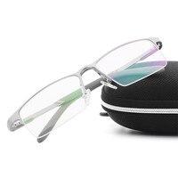 2017 męska biznes Wysokiej jakości aluminium magnezu okulary Zwykły kobiety mężczyzna JK-001 Krótkowzroczny okulary Pół Obręczy Ramki