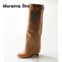 Moraima Snc Brown Women Boots Sexy Leather Design Shoes Over the Knee Boots Sexy Hidden Heel Boot Metal Platform Woman Shoes