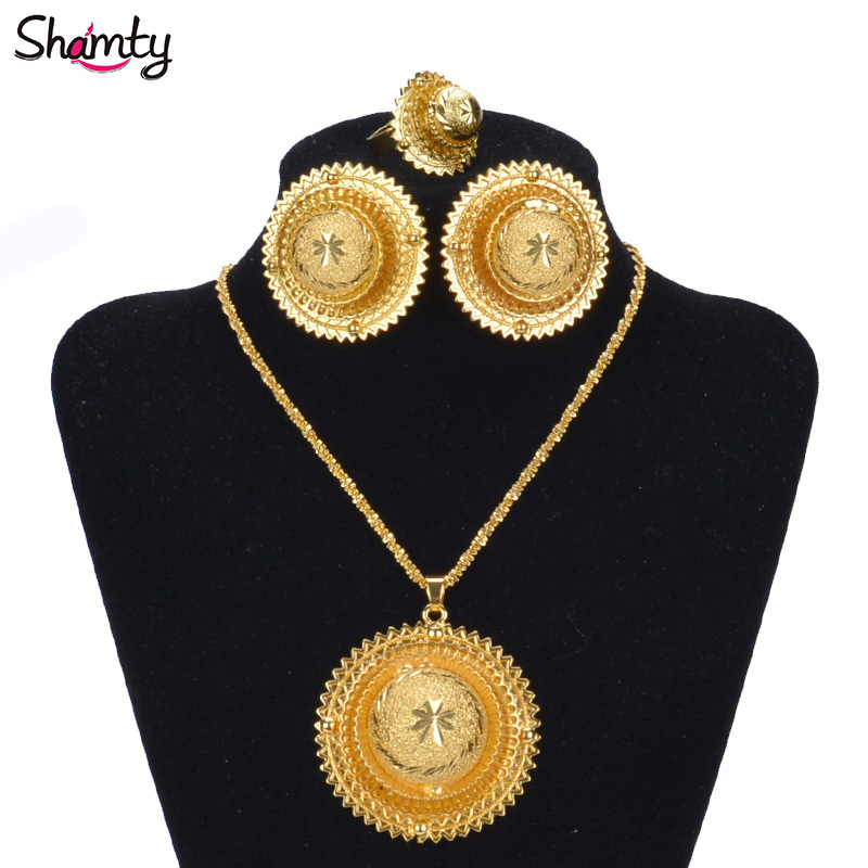 Shamty Hot Ethiopian Bridal Jewelry Sets African Nigeria Sudan Eritrea Kenya Pure Gold Color Habasha Style Wedding Sets D30019