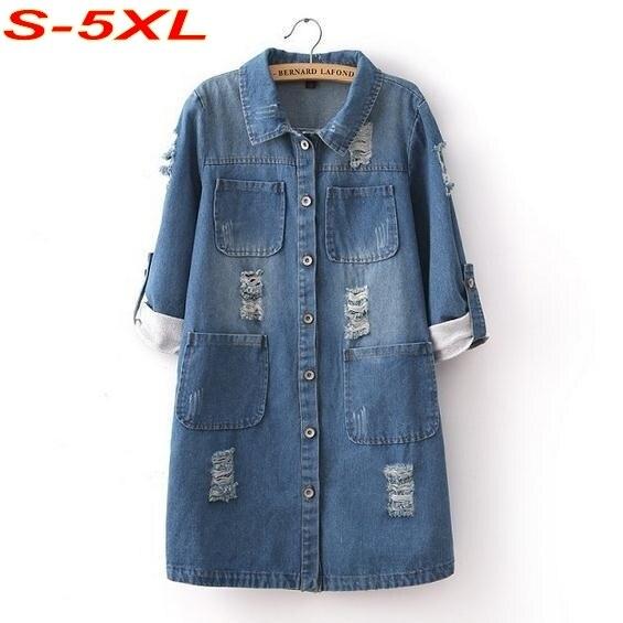 Джинсовой пальто женщин плащ старинные джинсы длинное пальто отверстия двойные карманы кардиганы джинсы с длинными рукавами Большой размер S-5XL C5802