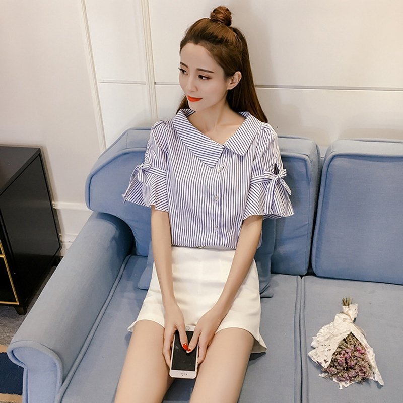 Short Sleeve Shirt Women Fashion Stripe Blouse 2018 Summer Autumn Short Sleeve Shirts Girls Shopping Traveling Tops Clothing ...