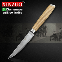 XINZUO 5 utility knife Damascus kitchen knives paring cutter kitchen tool damascus steel utility knife logs handle FREE SHIPPING