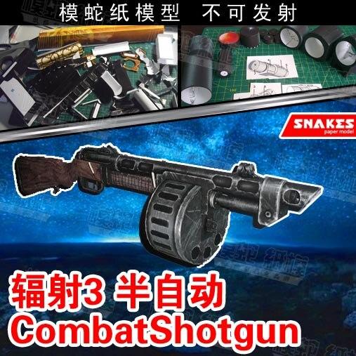 Radiation 3 Semi-automatic Shotgun Paper Model Weapon Gun 3d Three-dimensional Handmade Drawings Military Jigsaw Toys