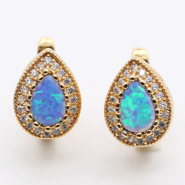 Fashion Jewelry Noblest Water Drop Blue Fire Opal Earrings Zirconia Champagne Gold Plated Earring For Women