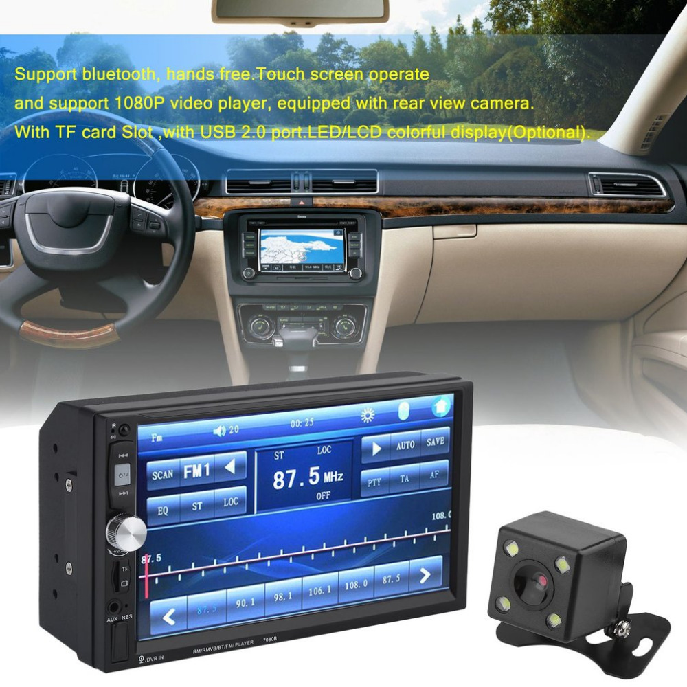 7 Inch Multimedia HD Bluetooth Touch Screen LCD Monitor Double Din Car Stereo Radio MP5 MP3 FM Player Rear View Camera touch screen bluetooth car stereo fm mp3 mp5 radio player of 7 inch lcd hd double din in dash rear view camera