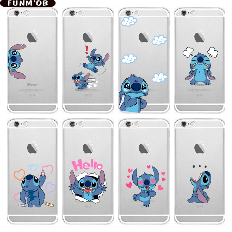 Cartoon Cute Stitch Emoji Soft Silicone Clear TPU Phone Case Cover For IPhone 6 6S 6Plus 7 7Plus 8 8Plus X 5s SE Xs Max Xr Coque