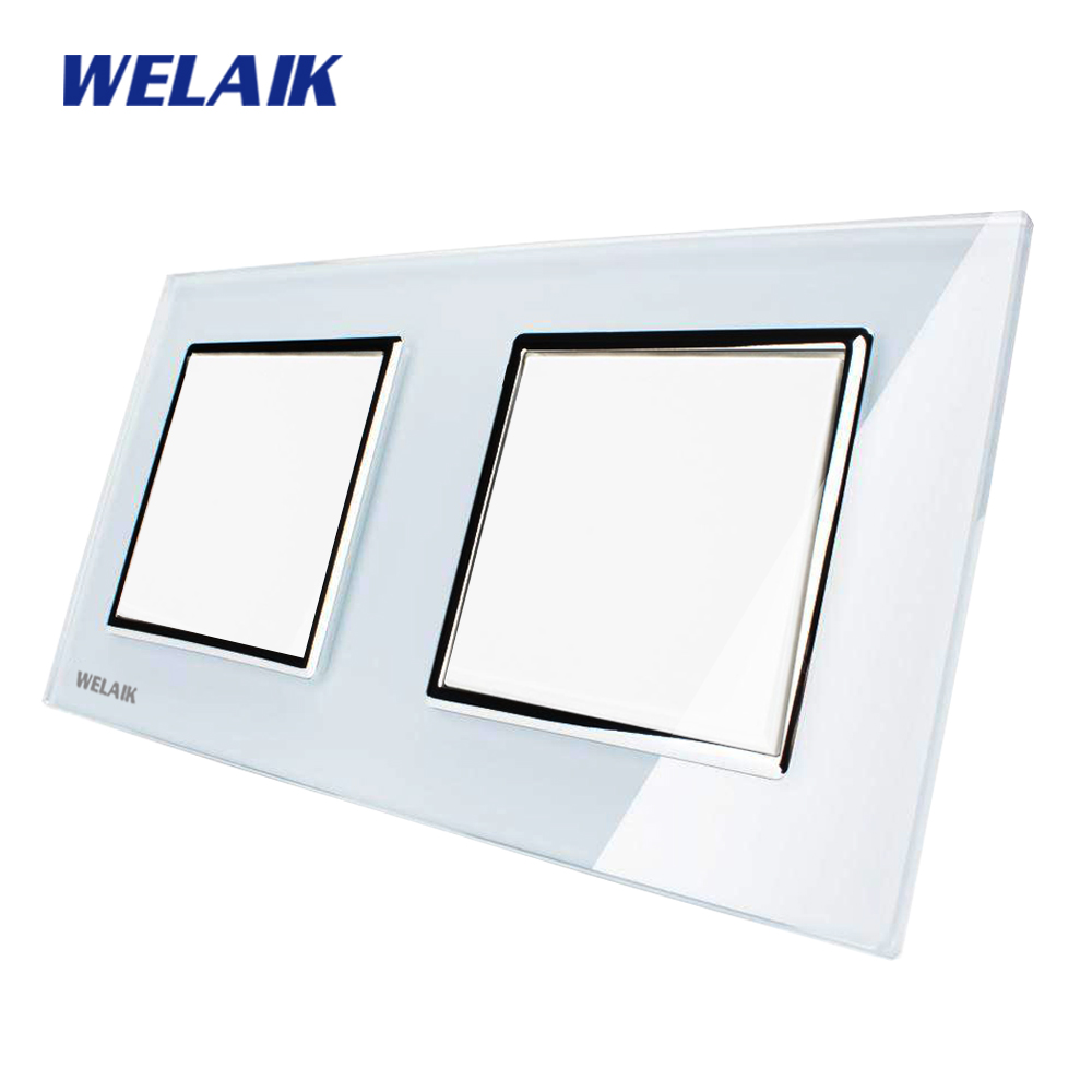 WELAIK Push Button Switch Manufacturer of Wall Light Switch Black White Crystal Glass Panel AC 110-250V 1Gang 1Way A271111W/B manufacturer xenon wall switch 110 240v smart wi fi switch button glass panel 1 gang ivory white eu touch light switch panel