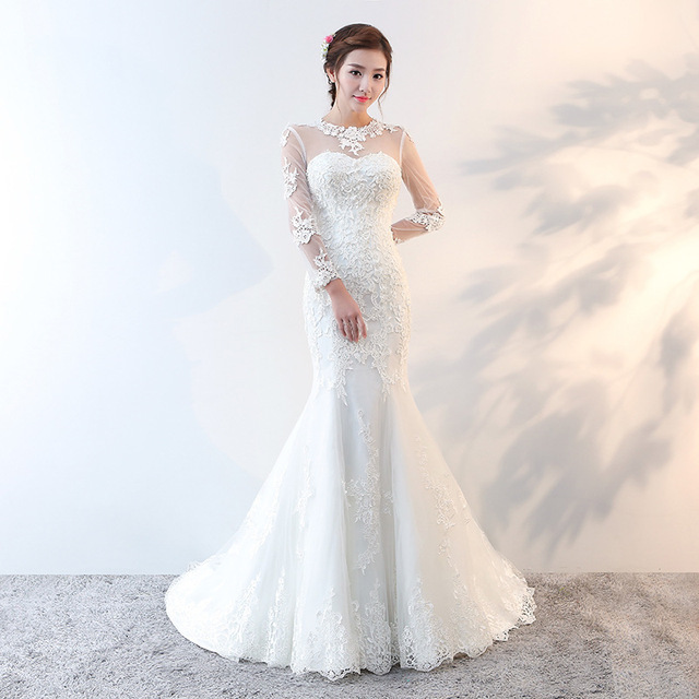 e6b548ccb52 Vivian s Bridal 2018 Korean Style White Mermaid Wedding Dress Illusion Lace  Appliques Backless Long Sleeve Long Bridal Gown