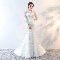 Vivian's Bridal 2018 Korean Style White Mermaid Wedding Dress Illusion Lace Appliques Backless Long Sleeve Long Bridal Gown