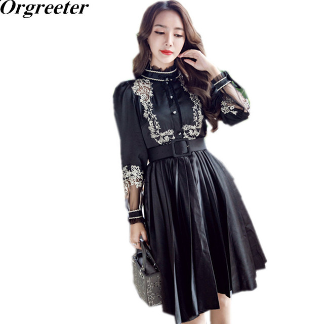 14d40acbced High Quality Women Vintage Palace winds Embroidery Lace Patchwork Dress  Slim Stand Collar Pleated Dress Party Dress