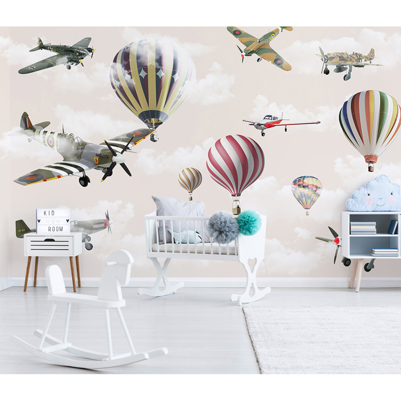 Us 15 49 49 Off Kids Wall Paper Stickers Mural Cartoon Airplane Balloon Photo Wallpaper 3d Children S Room Self Adhesive Vinyl Silk Wallpapers In