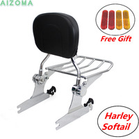 Motorcycle Rear Passenger Backrest Sissy Bar w/Detachable Chrome Luggage Rack For Harley Softail CVO Deluxe Anniversary 05 15