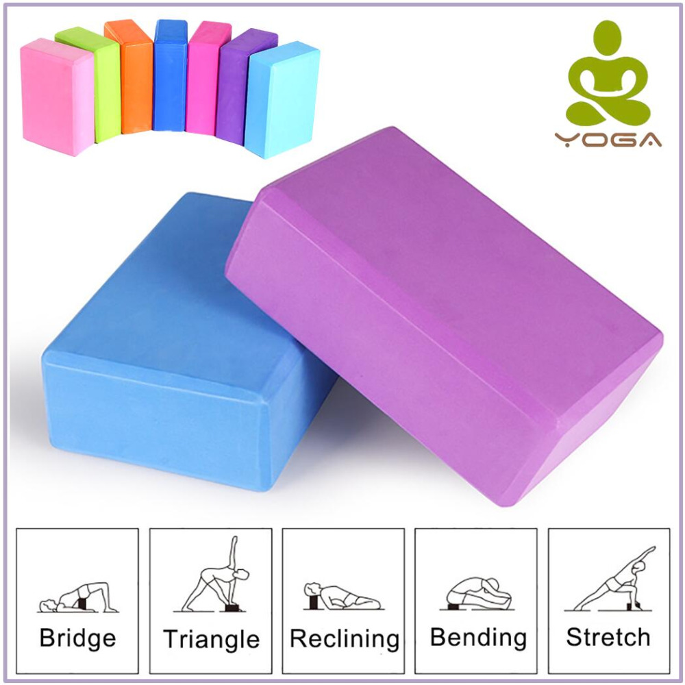 5 Colors Pilates EVA Yoga Block Brick Sports Exercise Gym Foam Workout Stretching Aid Body Shaping Health Training