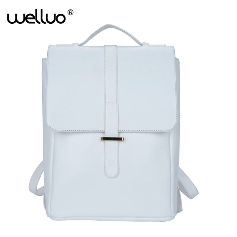 Spanish Brand 2017 Design Pu Leather Women Backpacks School Bag Student Backpack Ladies Women Bags White