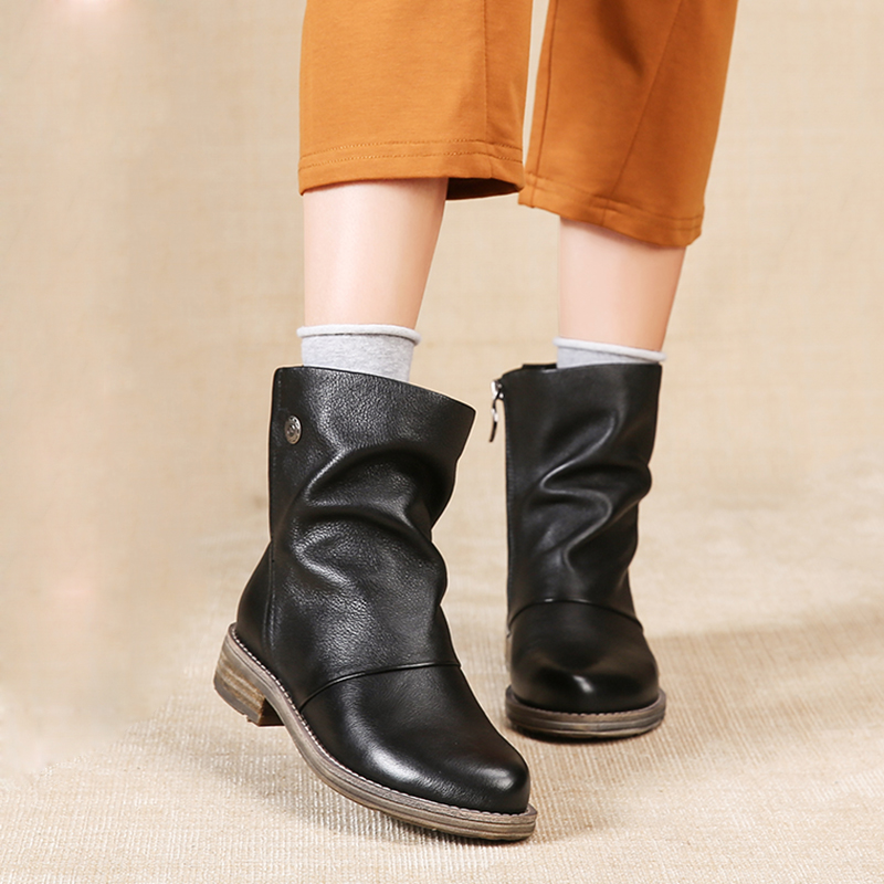 VALLU 2019 Handgjorda Kvinnors Skor Stövletter Äkta Läder Pläterade Runda Toes Lågklackar Original Naturliga Läder Stövlar Stövlar