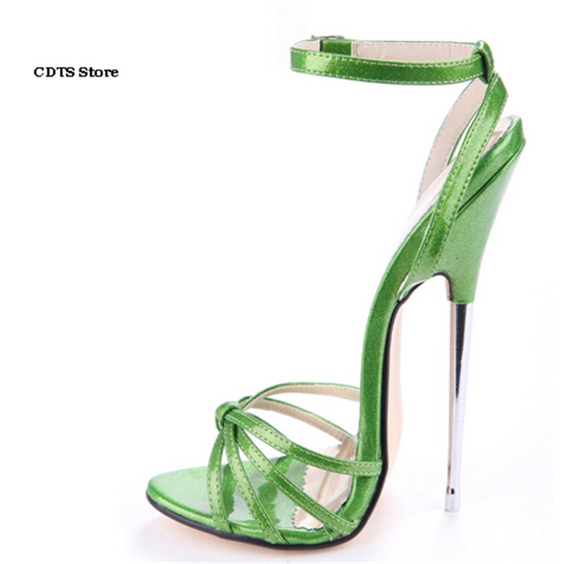 CDTS Crossdresser sexy Sandals Plus:35-45 46 Summer Pink/Green Summer 16cm ultra high heels female shoes woman Ankle Strap pumps cdts summer ankle strap sandals hasp rhinestone paillette 17 18cm ultra thin high heels peep toe female shoes woman pumps