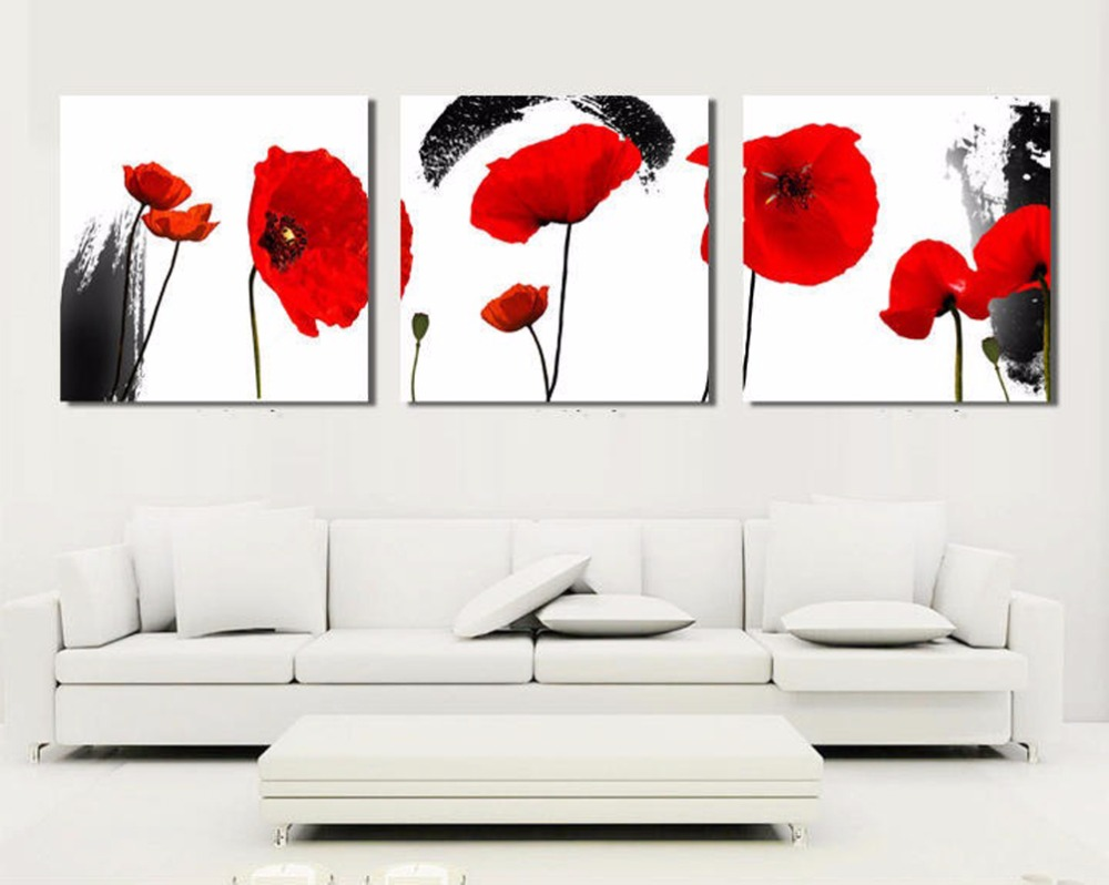 Buy Framed Canvas Art Flowers Chinese Oil Painting Feng Shui Wall Pictures For