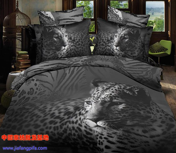 3d Black And White Animal Tiger Leopard Print Bedding Sets