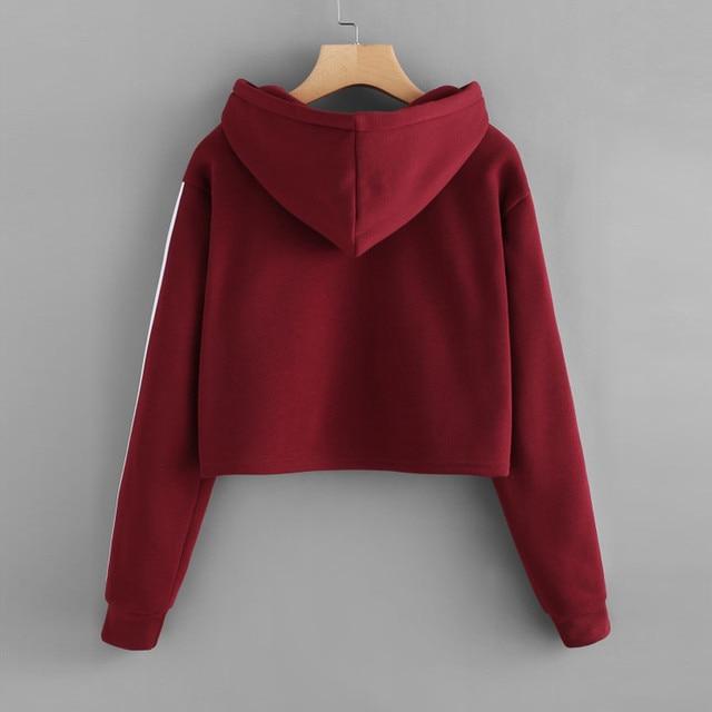JAYCOSIN fashion cropped sweatshirt women Striped Long Sleeve Hoodie Sweatshirt Jumper Hooded Pullover Tops hoodies for women