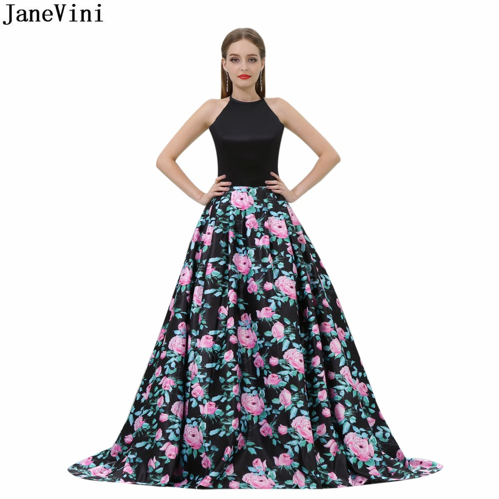 JaneVini Elegant Black Floral Print   Bridesmaid     Dresses   with Pockets Halter A Line Stain Prom Party Gowns Sweep Train Damigella