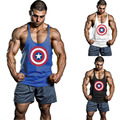 Homens Capitão América verão Singletos Regatas Stringer Musculação Fittness Colete