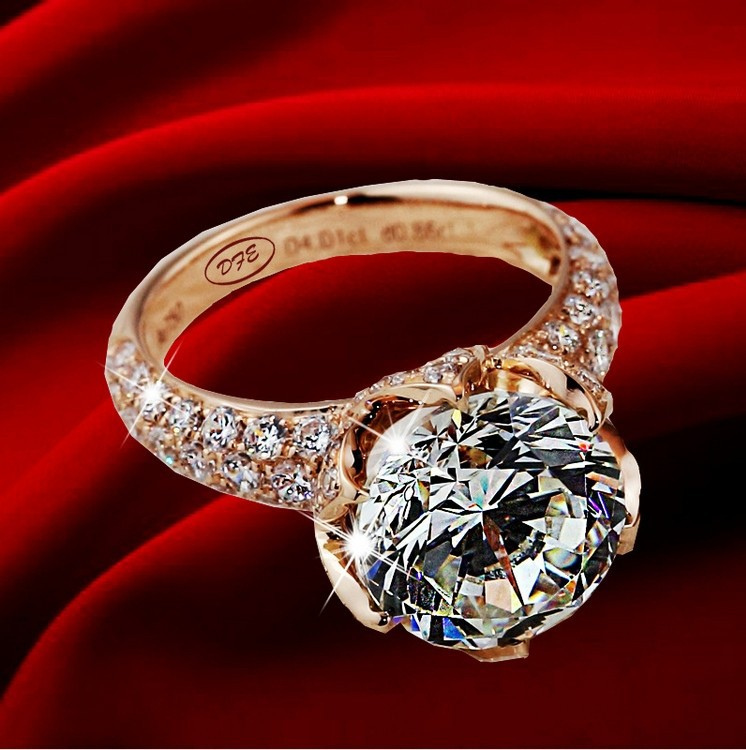 7c1d8dfd3 pt950 Stamp Luxury 4 carat lab diamond rings,Rose gold plated engagement & wedding  rings micro pave gold diamond pave ring-in Rings from Jewelry ...