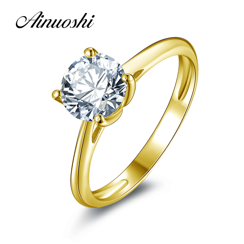 AINUOSHI 10k Solid Yellow Gold Wedding Ring 1.25 ct Solitaire Simulated Diamond Anelli Donna Brilliant Proposal Rings for Women ainuoshi 10k solid yellow gold wedding ring 1 25 ct solitaire simulated diamond anelli donna brilliant proposal rings for women