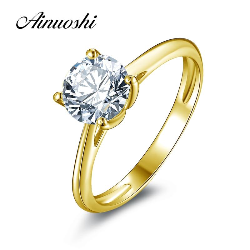 AINUOSHI Trendy 1.25 ct Solitaire Ronde Ring 14K Solid Geel/White Gold SONA Diamond Anillo Engagement Voorstel Ringen voor Vrouwen-in Ringen van Sieraden & accessoires op  Groep 1