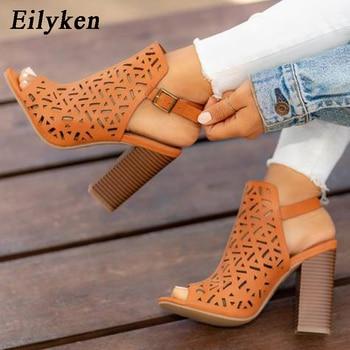 Eilyken оранжевые женские сандалии-гладиаторы на высоком каблуке ... c650bca774777