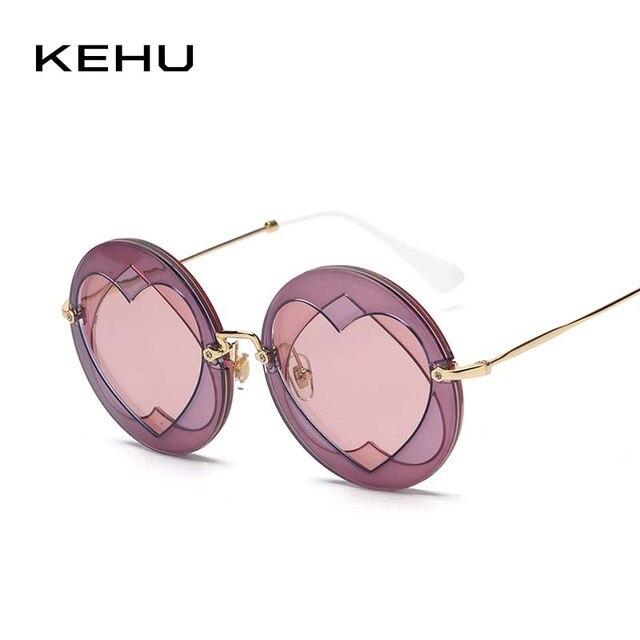 Kehu Мода Круглый Солнцезащитные очки для женщин Для женщин фирменный дизайн классический круглый Рамки Для женщин Солнцезащитные очки для женщин UV400 сердце Солнцезащитные очки для женщин стильные k9159