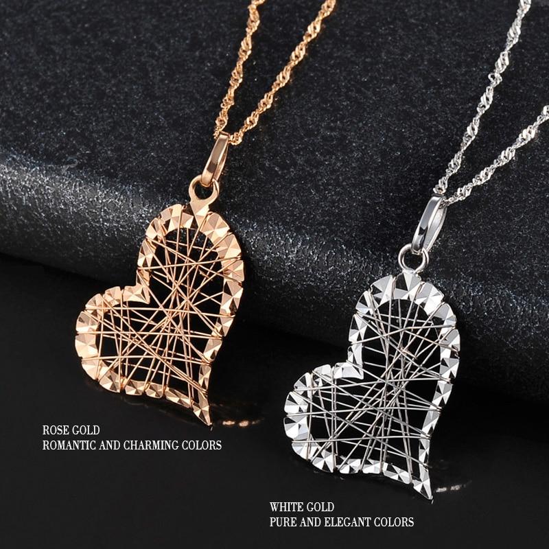 18 k Saf Altın Kolye Kalp Şekli Charm Au750 Gül Güzel Takı Moda - Takı - Fotoğraf 3