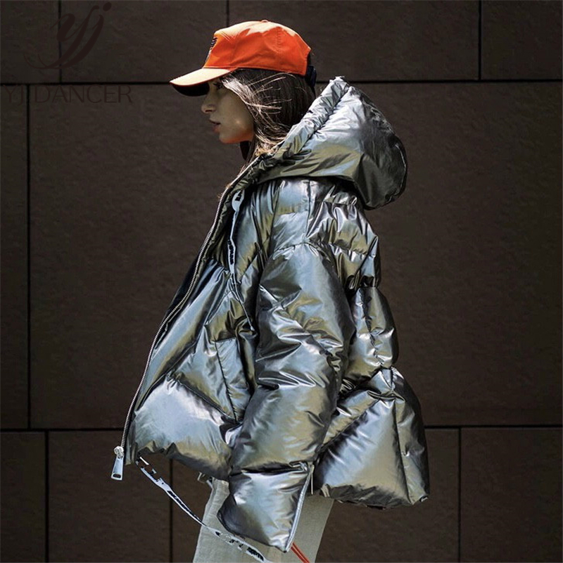 Down   jacket 2018 Winter New warm Bright silver   coat   ladies parkas Thick   Down     coats   High Quality Outwear Gold Oversize Woman L315