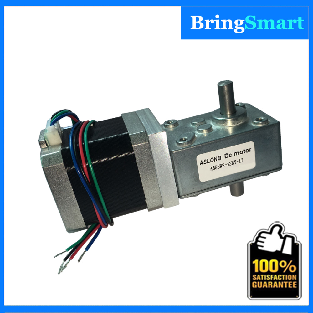 Free Shipping A58SW-42BYS 4-Wire Single Output Shaft 12V Stepping Gear Motor 24V Worm Gear Stepping Motor For Bringsmart free shipping 24v dc mig welding wire feeder motor single drive 1pcs