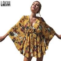 LAISIYI Floral Print Chiffon Blouse Lace Up Kimono Shirt Women 2017 Summer Sexy V Neck Top