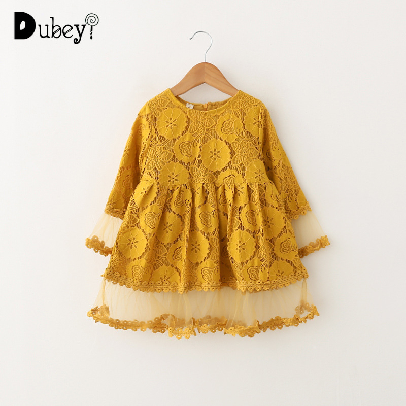 Us 1814 40 Offmustard Yellow Lace Princess Dress For Little Girl Long Sleeve Toddler Girl Dresses For Party Kids Frocks Clothes For 2 6 Years In