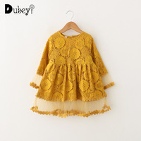 Mustard Yellow Lace Princess Dress for Little Girl Long Sleeve Toddler Girl Dresses for Party Kids Frocks Clothes for 2 6 Years